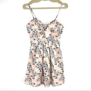 Say What Floral Summer Dress Tie Front V- Neck